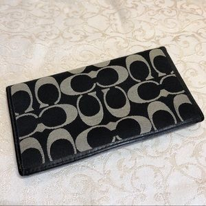 Coach Signature C Sateen Leather Checkbook Wallet
